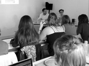 Rencontre avec Joseph Jacquin-Porretaz et Anne Medard-Blondel, Université d'Avignon, 25/09/15, ©Muséocom - Alice Bachmann